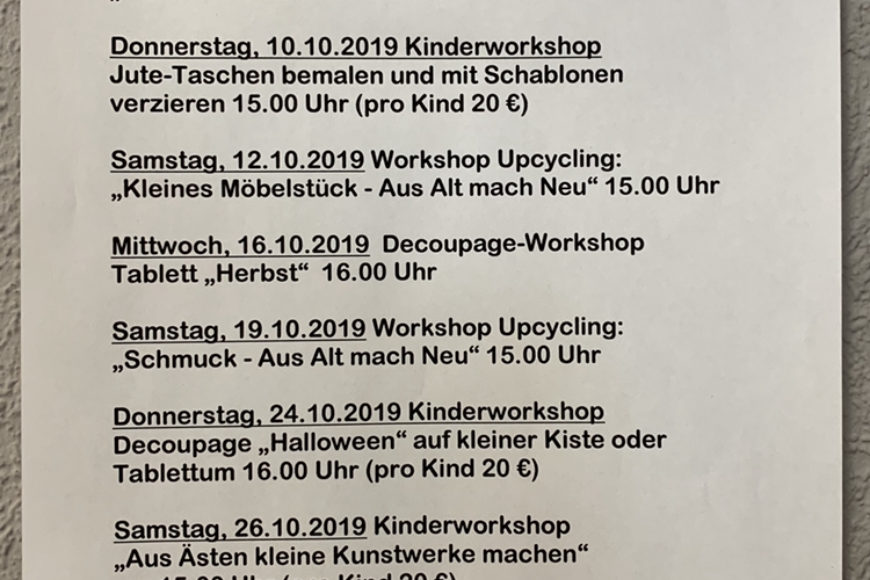 Unsere Workshop-Termin für Oktober 2019