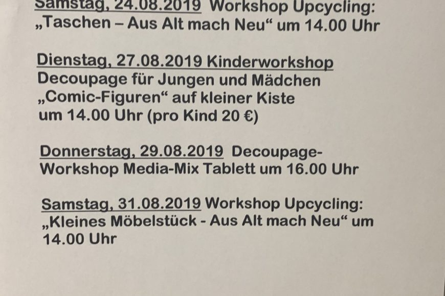 Unsere Workshop-Termin für August 2019
